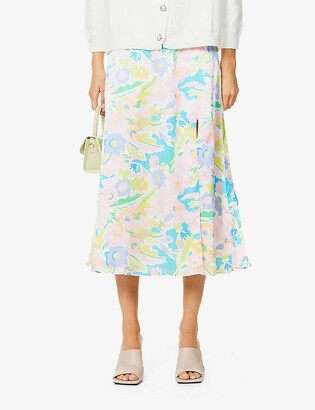 Olivia Rubin Adrianne floral-print silk midi skirt