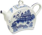 One Kings Lane Decorative Chinoiserie Scene Teapot - blue/white