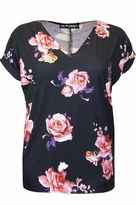 Fashion Star Womens Printed V Neck Turn Up Sleeve Baggy Tops Black Skull Bone Plus Size (UK 24/26)