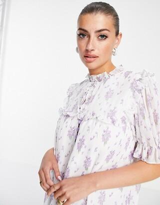 Lost Ink midi dress with bib detail in vintage floral