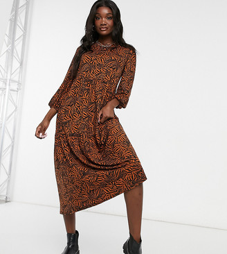New Look Tall balloon sleeve tiered smock dress in brown zebra pattern