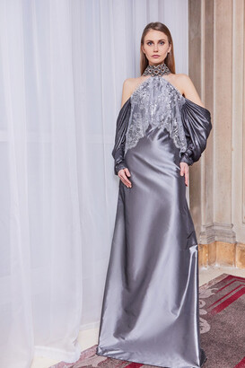 Gatti Nolli by Marwan Cold Shoulder High Neck Gown