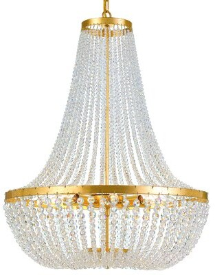 House of Hampton Egidio 8 - Light Unique / Statement Empire Chandelier with Beaded Accents Finish: Antique Gold