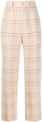 Forte Forte Textured Check Patterned Trousers
