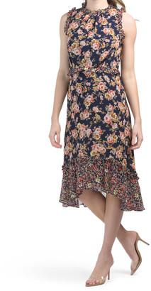Chiffon Ruffle Detail Midi Dress