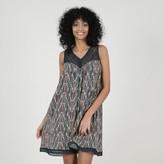 Molly Bracken Cotton Mini Shift Dress in Print with Openwork Details