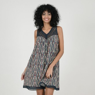 Molly Bracken Cotton Mini Shift Dress in Print with Openwork Details