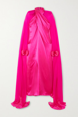 Richard Quinn Cape-effect Twisted Silk-satin And Chiffon Gown - Pink