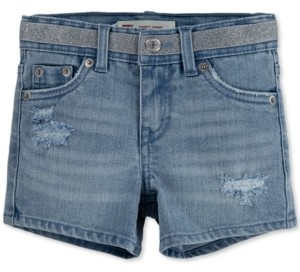 Levi's Big Girls Metallic Waist Distressed Denim Shorts