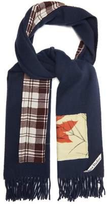 Acne Studios Canada Botanical & Tartan-applique Wool Scarf - Mens - Navy
