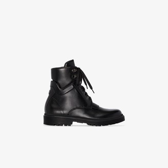 Moncler black Patty flat leather boots