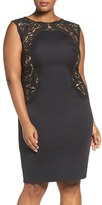 Tadashi Shoji Plus Size Women's Embroidered Tulle & Neoprene Sheath Dress