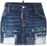DSQUARED2 distressed stitching mini skirt