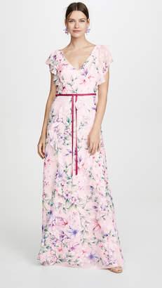 Marchesa Printed Burnout Chiffon Gown
