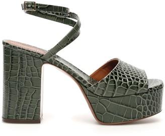 L'Autre Chose Crocodile Print Platform Sandals