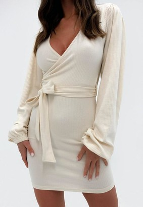 Missguided Petite Cream Rib Wrap Belted Mini Dress