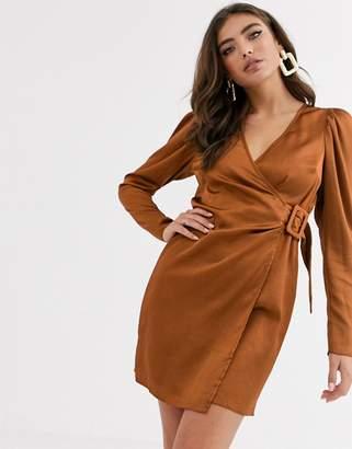 Asos Design DESIGN satin wrap mini dress with buckle-Brown