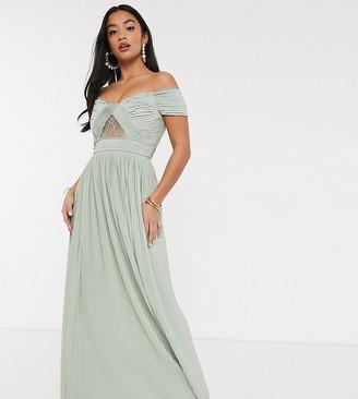 ASOS DESIGN Petite premium lace and pleat bardot maxi dress in sage