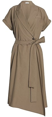 Brunello Cucinelli Monili-Tab Sleeve Belted Wrap Dress