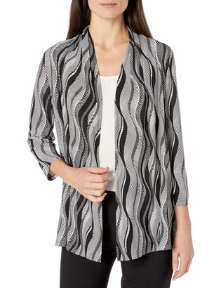 Kasper Women's 3/4 Sleeve Graphic Lines Printed Cardigan