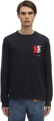 Burberry Logo Embroidery Cotton Jersey Sweatshirt