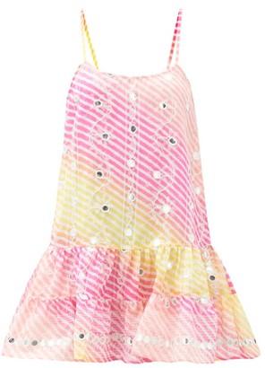 Juliet Dunn Mirror-work Rainbow-striped Gauze Mini Dress - Pink Multi