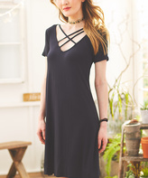 Bellino Black Crisscross A-Line Dress