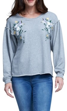 Seven7 Embroidered Puff Sleeve Sweatshirt