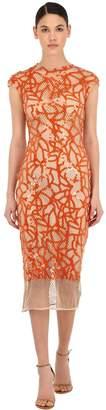 Sandra Mansour Long Sequined Net Dress