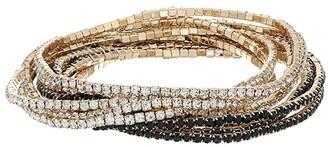 GUESS 10-Piece Stone Stretch Bracelet Set (Gold/Jet) Bracelet