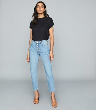 Reiss Lakely - Mid Rise Straight Jeans in Pale Blue