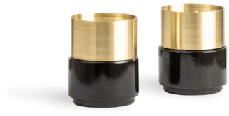 And Jacob Brass Candle Holders Black Marble