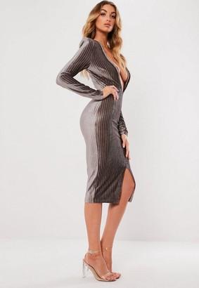 Missguided Gray Metallic Stripe Plunge Dress