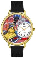 Whimsical Watches Unisex G0460002 Mystery Lover Black Skin Leather Watch