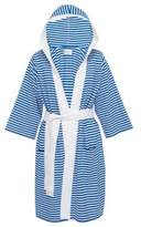 Bed Bath & Beyond Nine Space Large/Extra-Large Knee Length Striped Jersey Knit Bathrobe in Blue