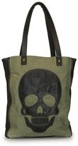 Loungefly Olive Twill Tote With Black Skull Applique