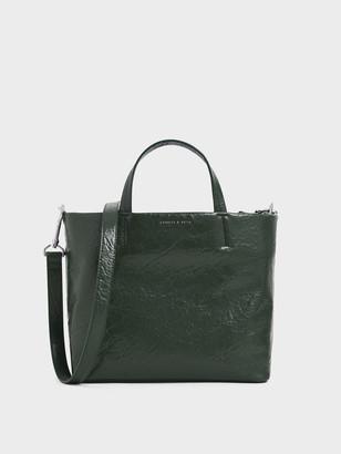 Charles & Keith Wrinkled Effect Short Strap Tote Bag