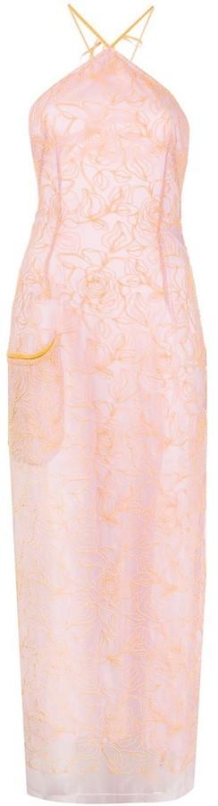 Jacquemus Orange And Lavender Lace Halter Dress