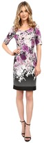 Adrianna Papell Floral and Geo Printed Scuba Sheath Dress w/ Sleeve