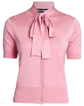 Dolce & Gabbana Short-Sleeve Silk Tieneck Cardigan
