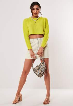 Missguided Petite Lime Super Cropped Jumper