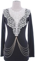 Karmas Canvas Crochet Lace Bib Chain Drape Body Chain