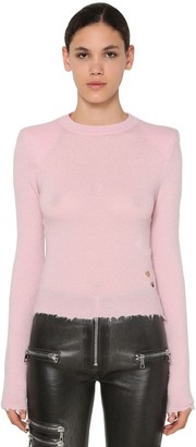 Unravel Padded Shoulders Raw Cut Sweater