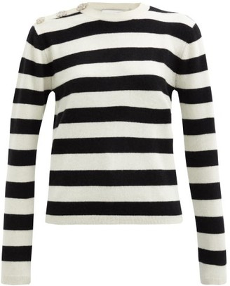 Ganni Crystal-button Striped Cashmere Sweater - Black White
