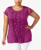 Charter Club Plus Size Ruffled Flutter-Sleeve Top, Only at Macy's