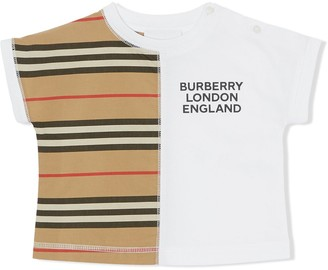 BURBERRY KIDS Icon Stripe panelled T-shirt