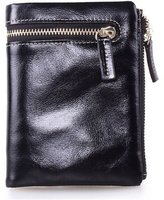 KALENDS Ladies Oil Wax Leather Wallet With Zipper Pocket