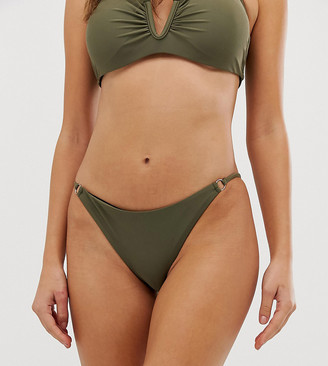 Glamorous Exclusive high leg bikini bottom in khaki
