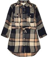 River Island Mini girls navy and brown check shirt dress