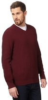 Maine New England Big And Tall Dark Red Textured V Neck Jumper